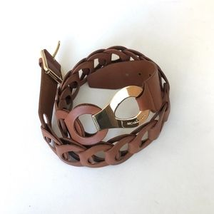 Michael Michael Kors Brown Ring Leather Belt XL